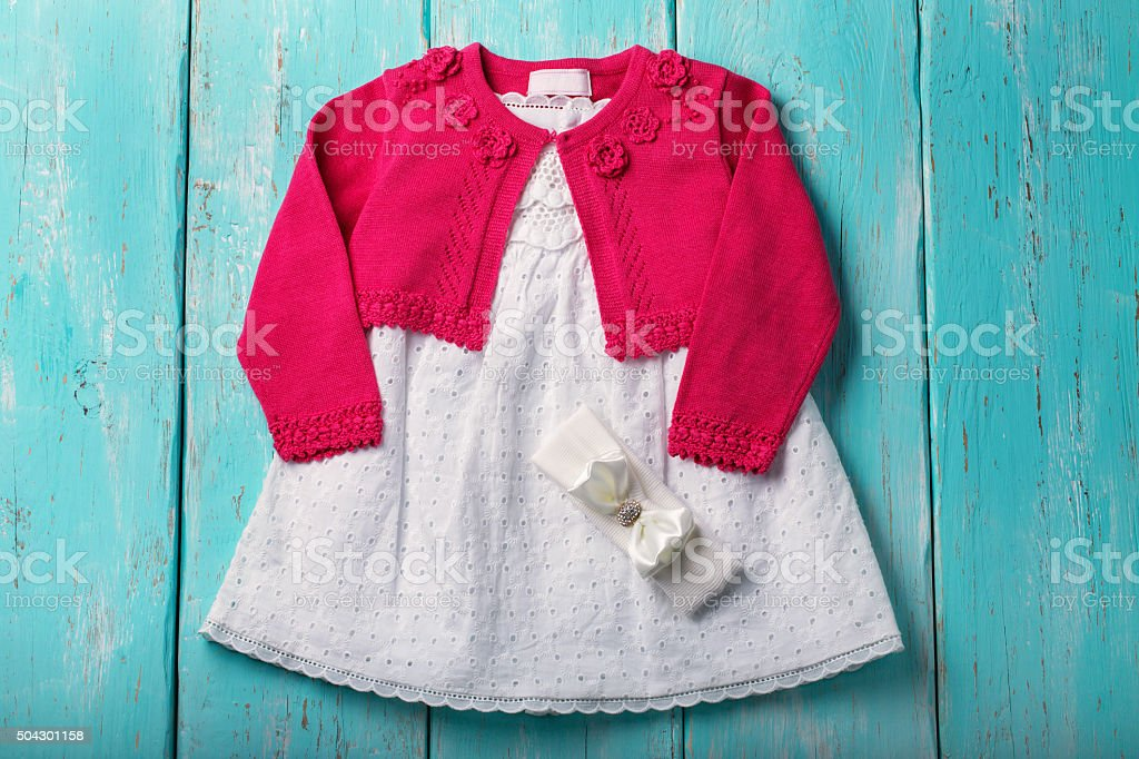 Dress and Bolero for babies stock photo