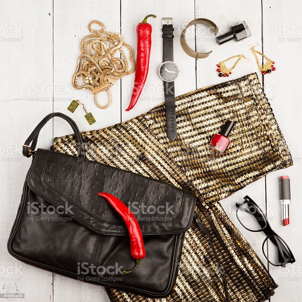 dress, bag, watch, glasses, accessories stock photo