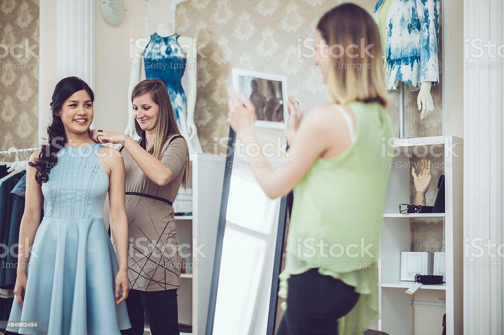 Dress fitting stock photo