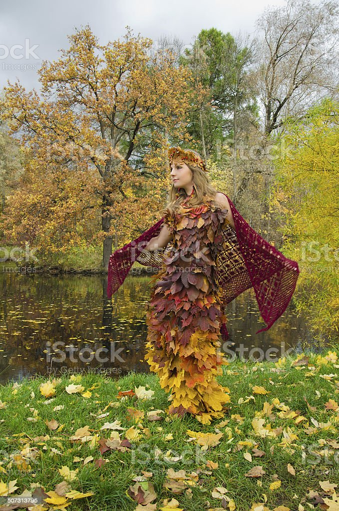 dress from the leaves stock photo
