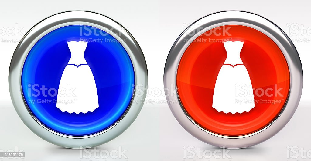 Dress Icon on Button with Metallic Rim stock photo