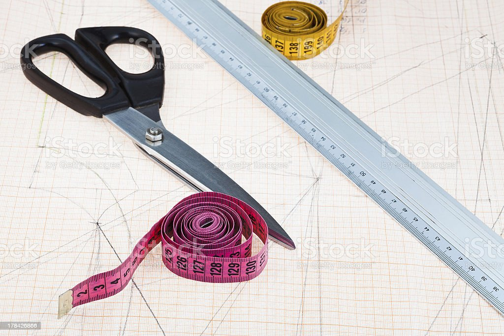 dress pattern at graph paper and fitter instruments royalty-free stock photo