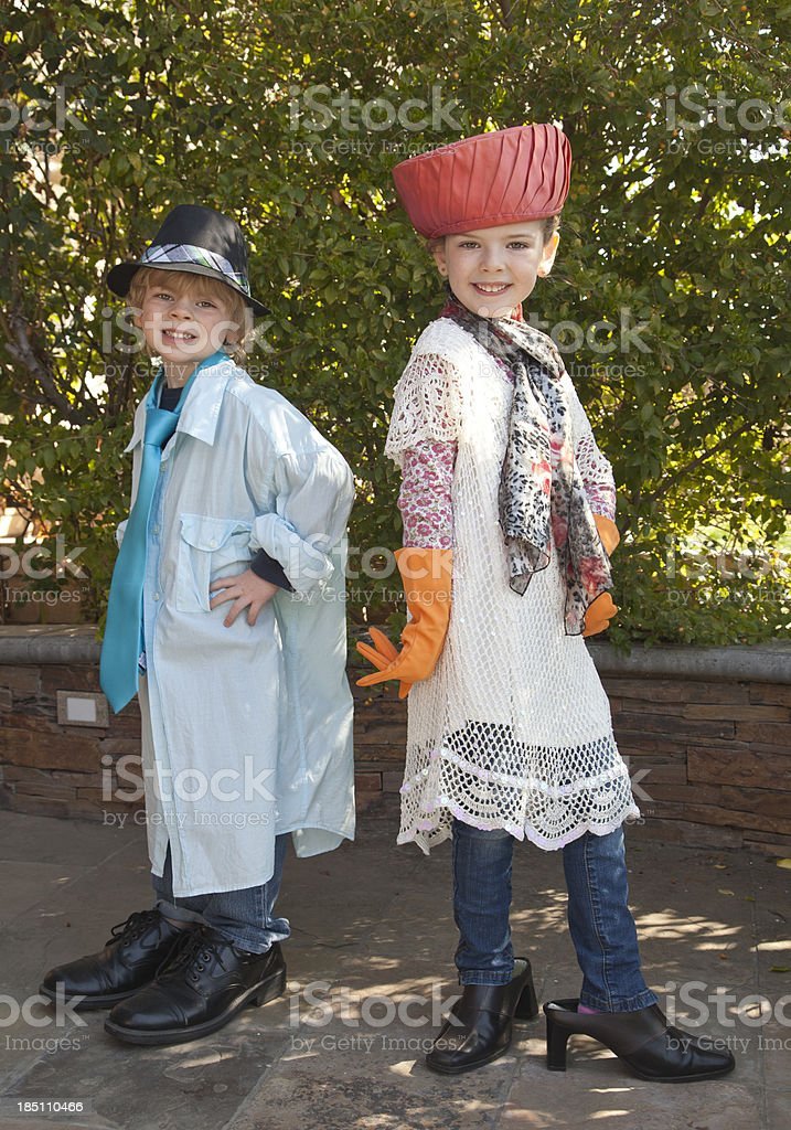 Dress up brother and sister stock photo
