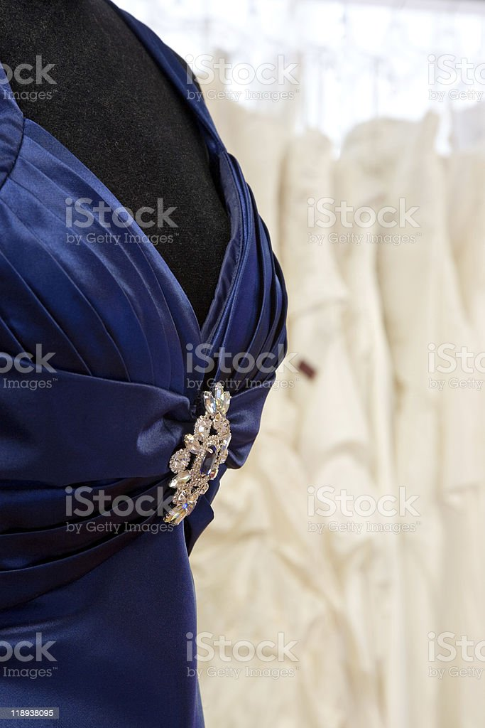 Dress with brooch. stock photo