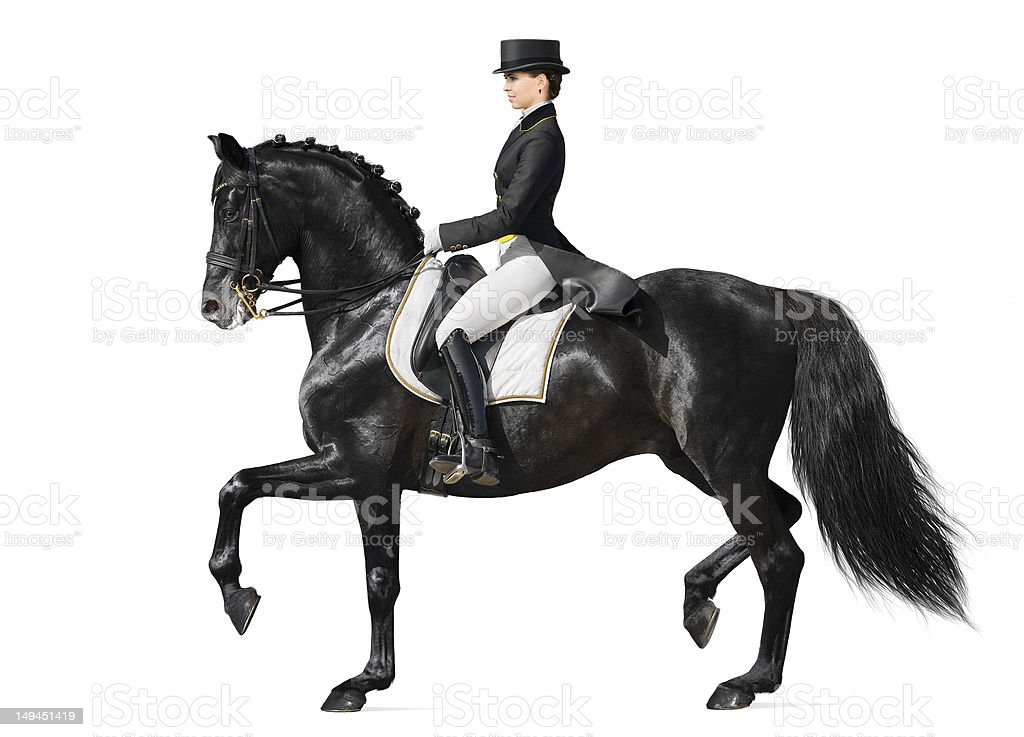 Dressage - black horse and woman stock photo