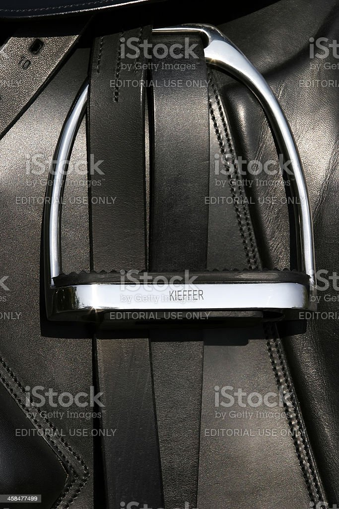 Dressage saddle stock photo