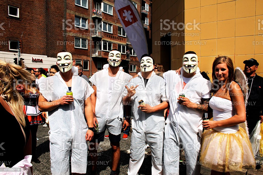 Dressed as hacker group anonymous at the Aalborg carnival stock photo