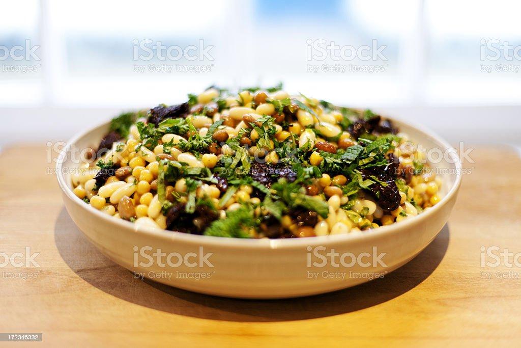 Dressed bean salad stock photo