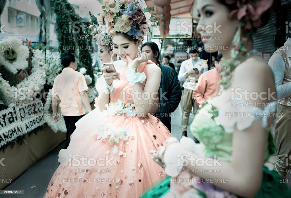 Dressed up and texting stock photo