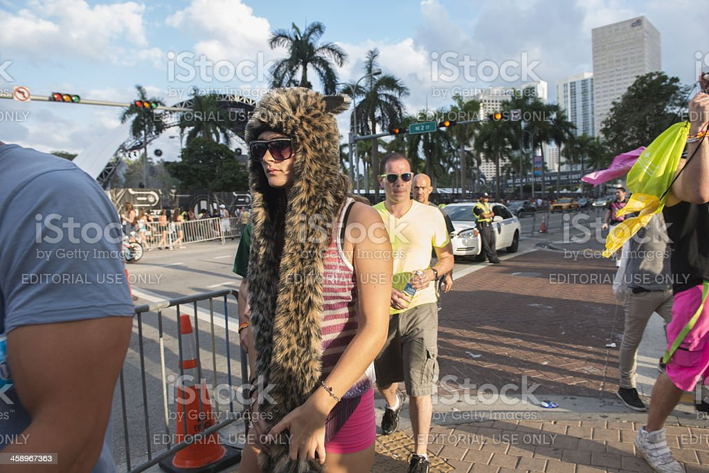 Dressed up Millennial Girl Walking on Biscayne Boulevard Downtown Miami stock photo