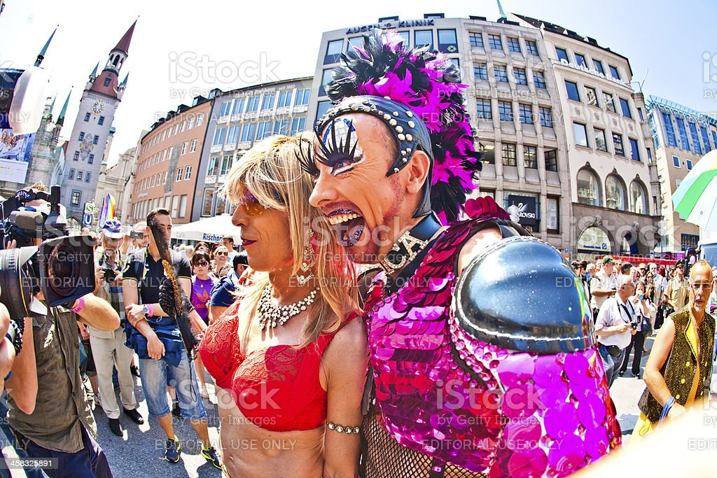 dressed-up people celebrate the Christopher Street Day in Munich stock photo