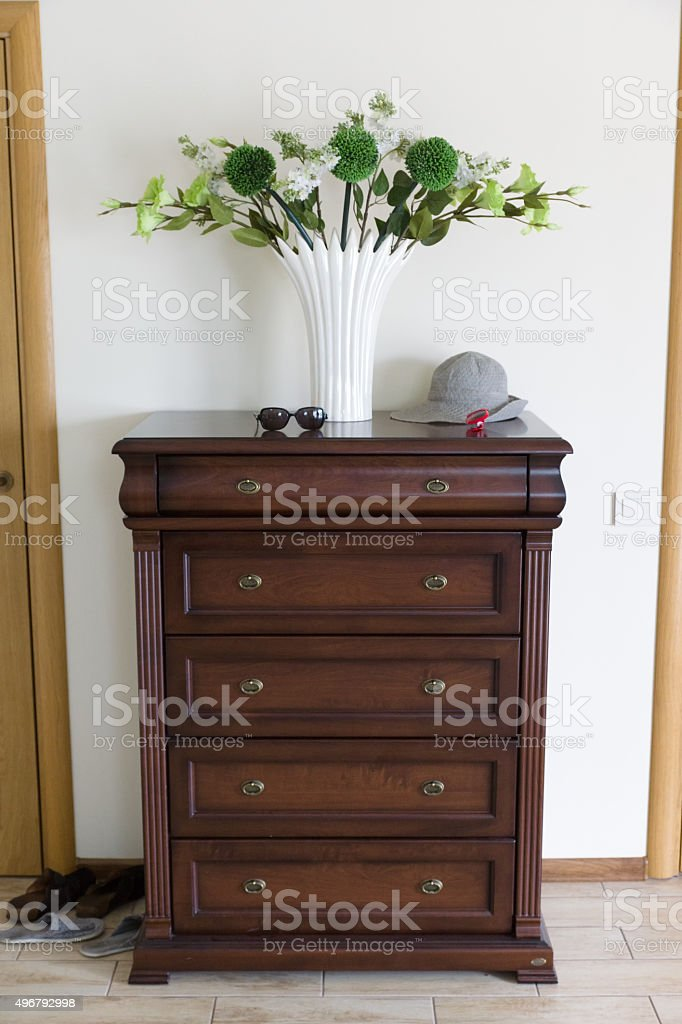 dresser from a brown tree stock photo
