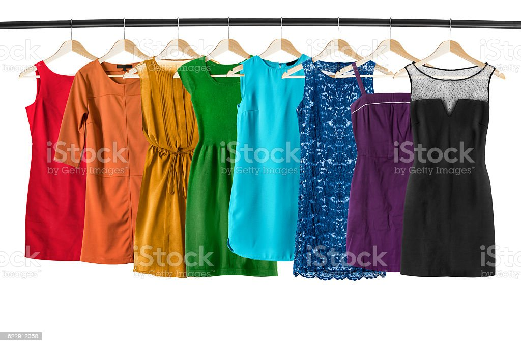 Dresses on clothes racks stock photo
