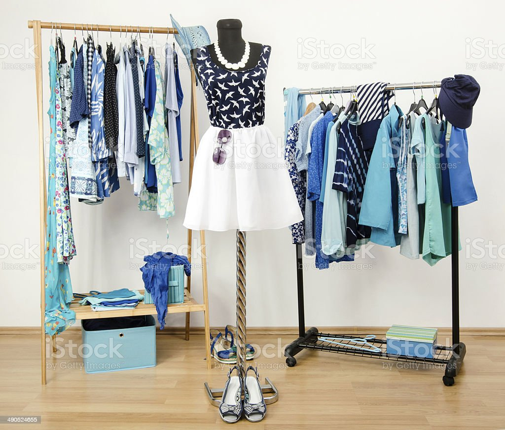 Dressing closet with blue clothes arranged on hangers. stock photo