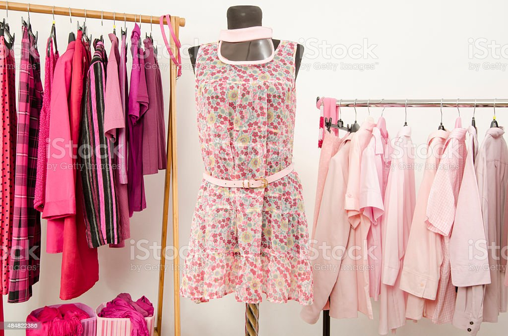 Dressing closet with pink clothes arranged on hangers. stock photo
