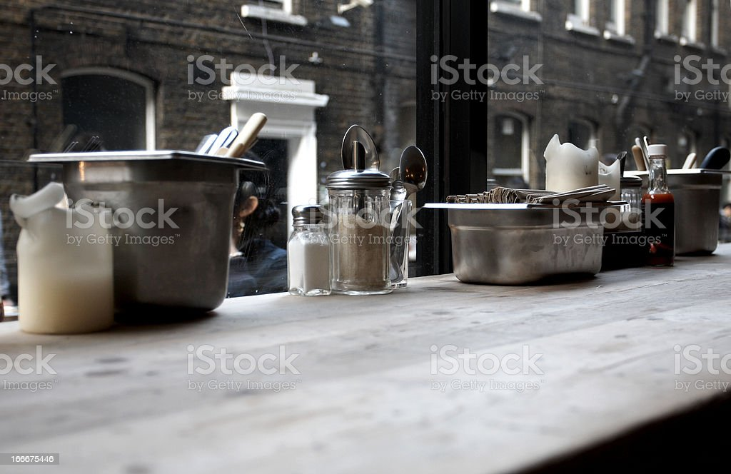 dressing on table in background stock photo