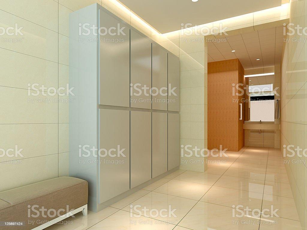 3D dressing room, corridor stock photo