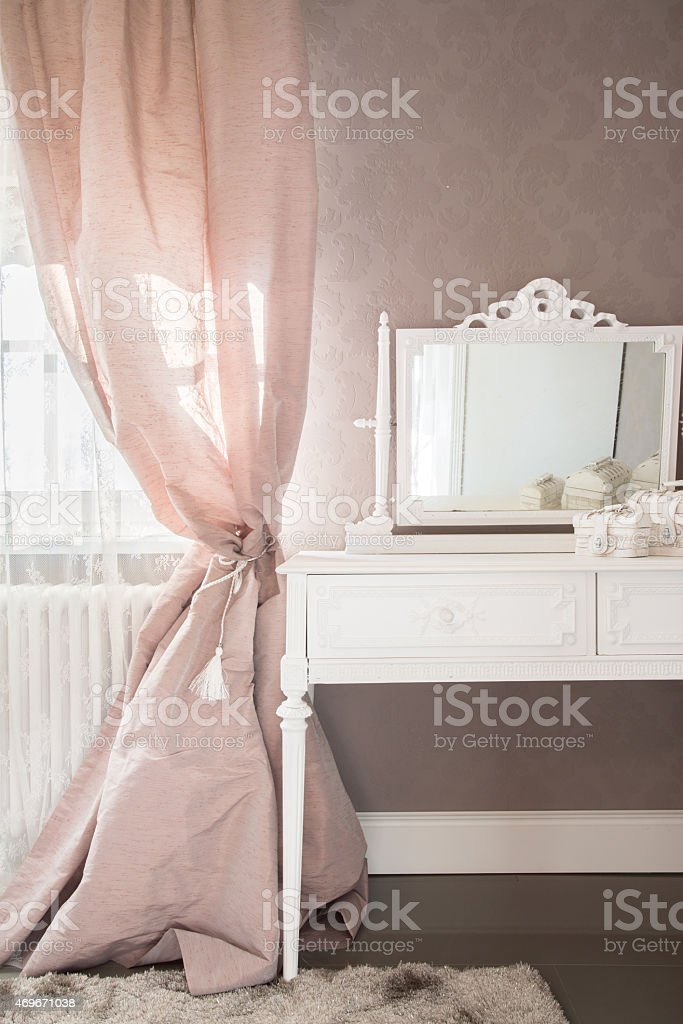 Dressing table in a bedroom stock photo
