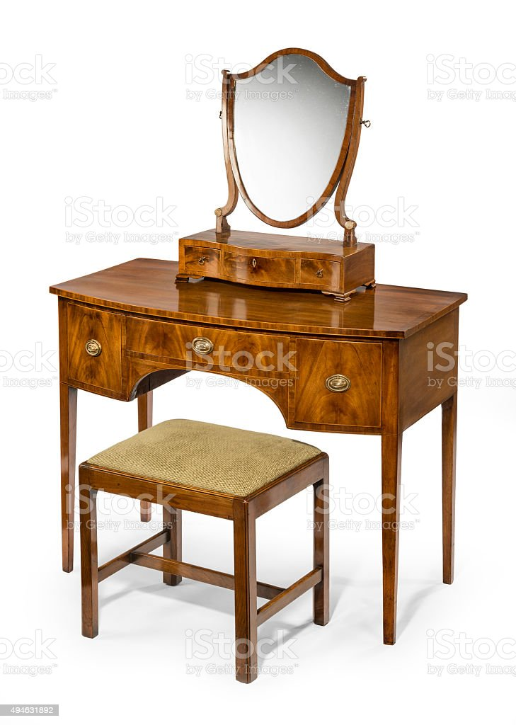 Dressing table mirror and stool set antique and vintage stock photo