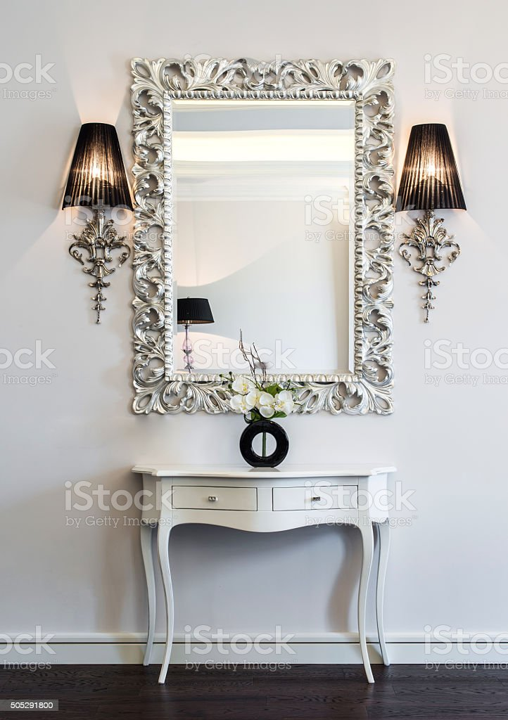 Dressing table with large mirror stock photo