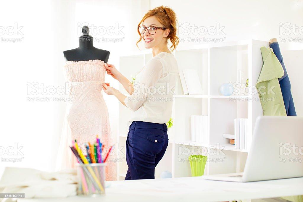 Dressmaker at work. royalty-free stock photo