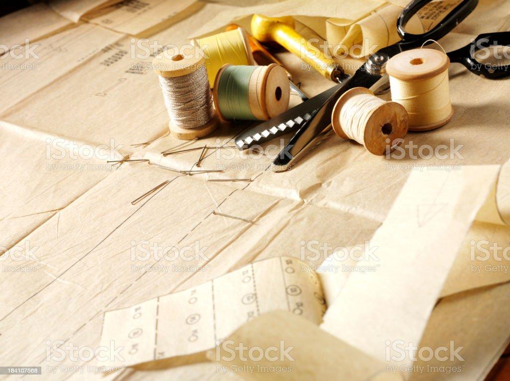 Dressmakers Pattern and Haberdashery stock photo
