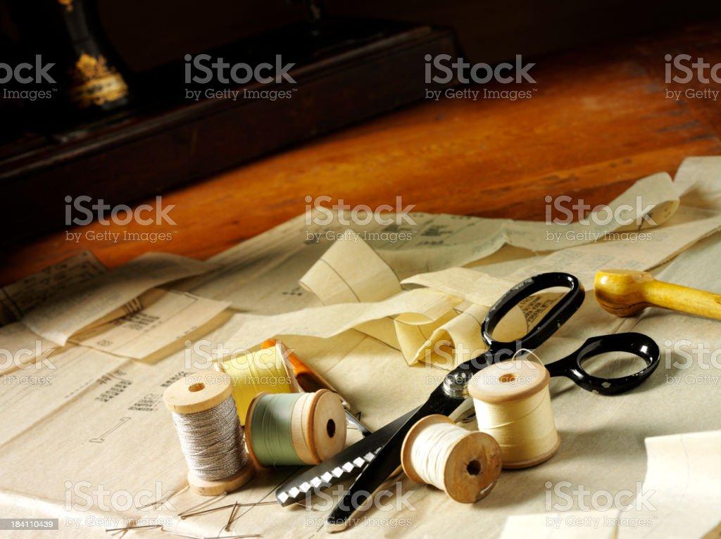 Dressmakers Table and Haberdashery stock photo