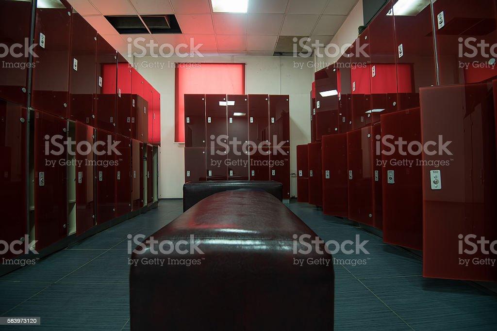 Dressroom in fitness center stock photo