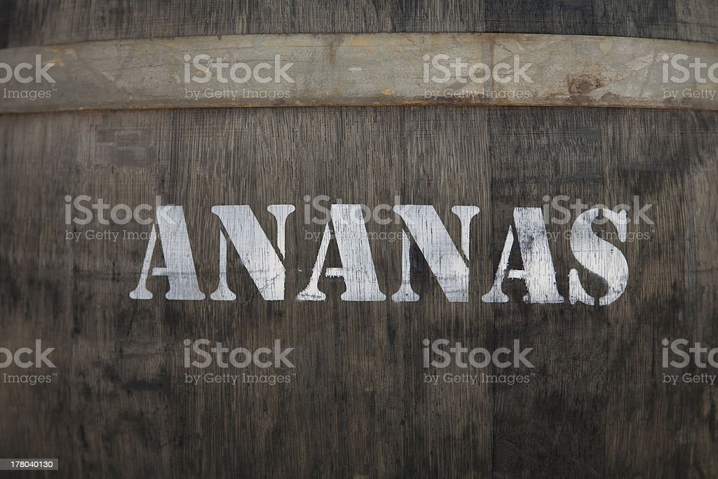 Dried ananas in a barrel royalty-free stock photo