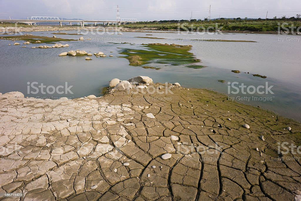 Dried and cracked soil stock photo