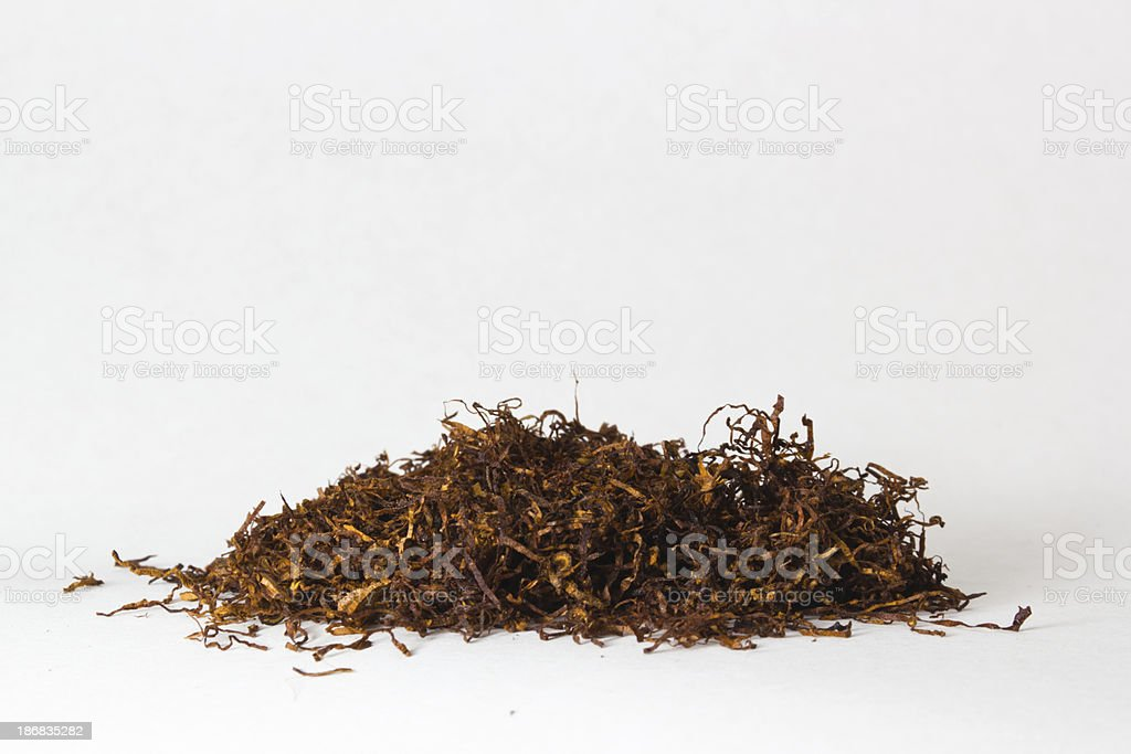 Dried and cut tobacco stock photo