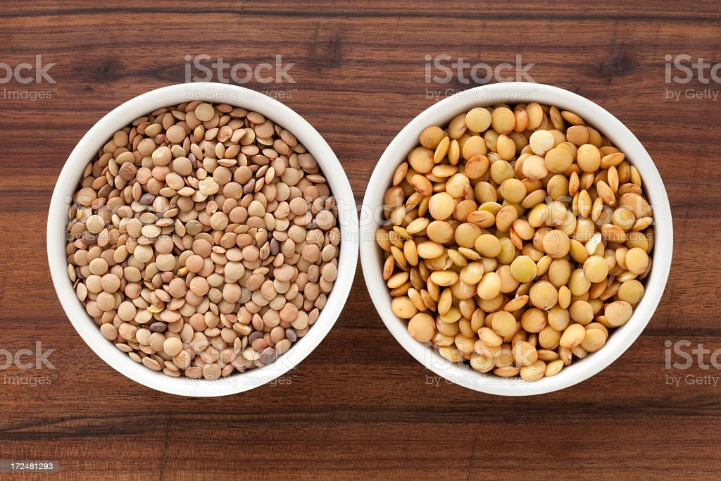 Dried and soaked lentils royalty-free stock photo