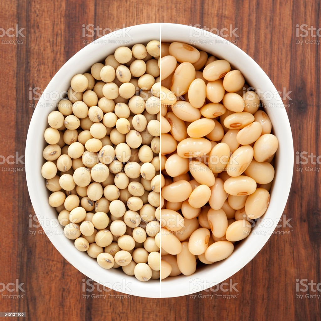 Dried and soaked soybeans composition stock photo