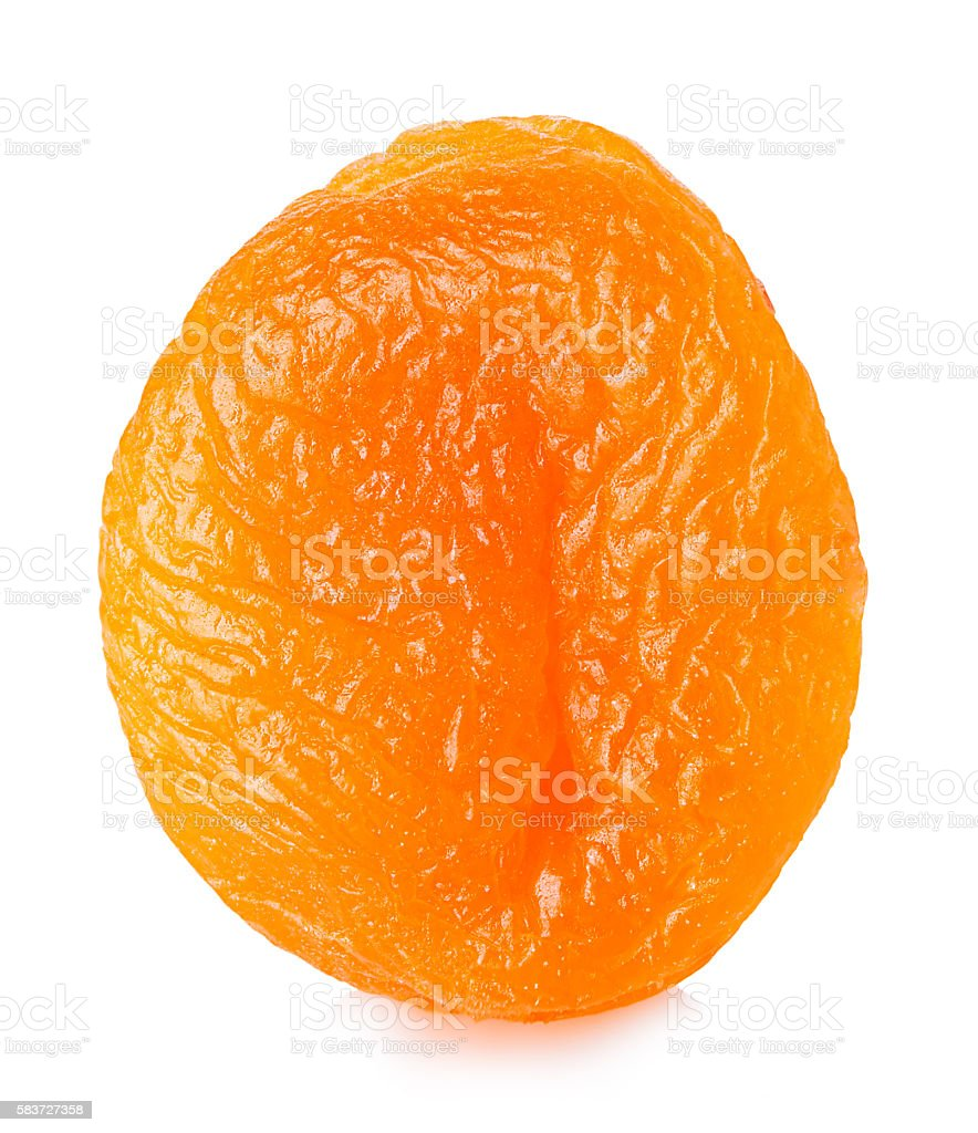 Dried apricots close-up on a white background. stock photo