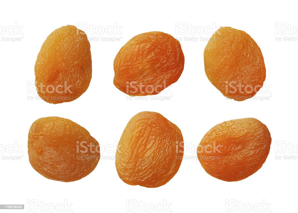 Dried apricots isolated on white stock photo