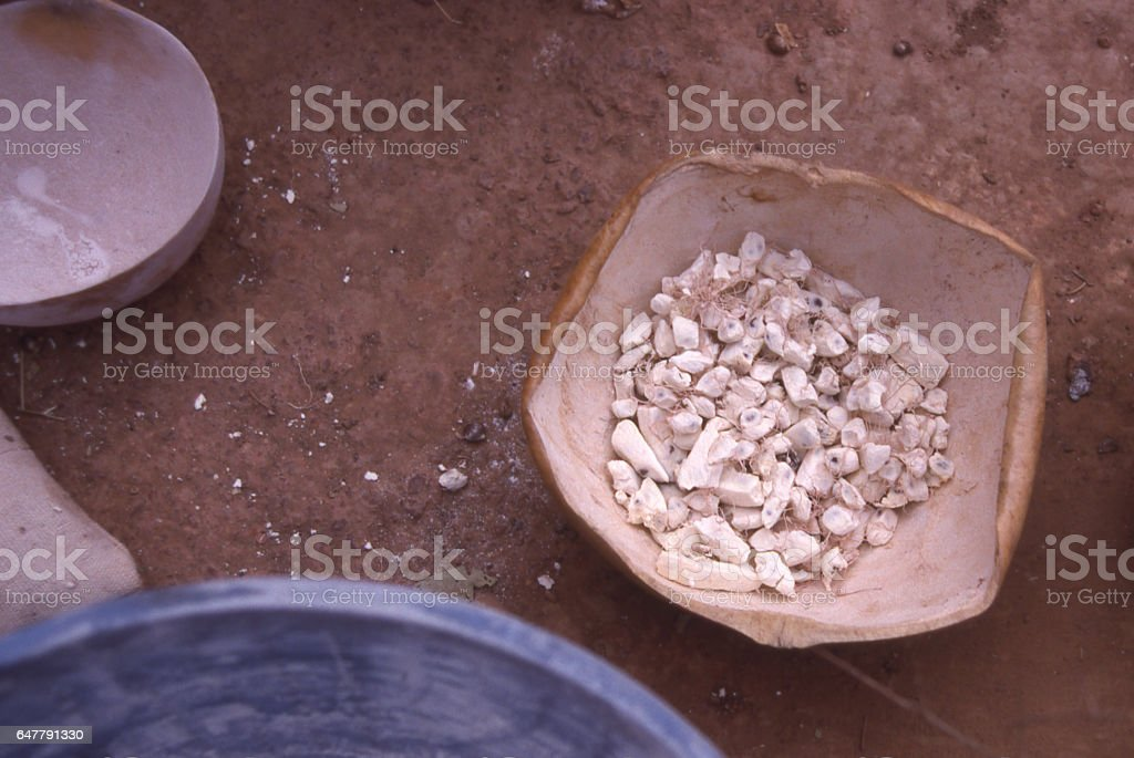 Dried Baobab fruit parts used for sweeting in market gourd Burkina Faso Africa stock photo