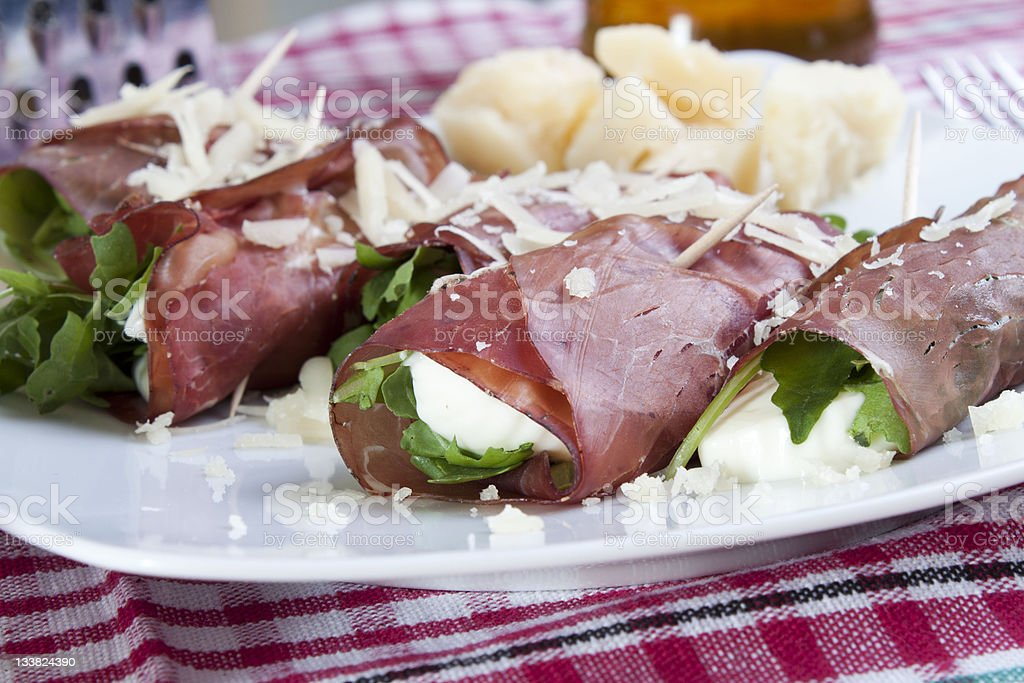Dried beef rolls stock photo