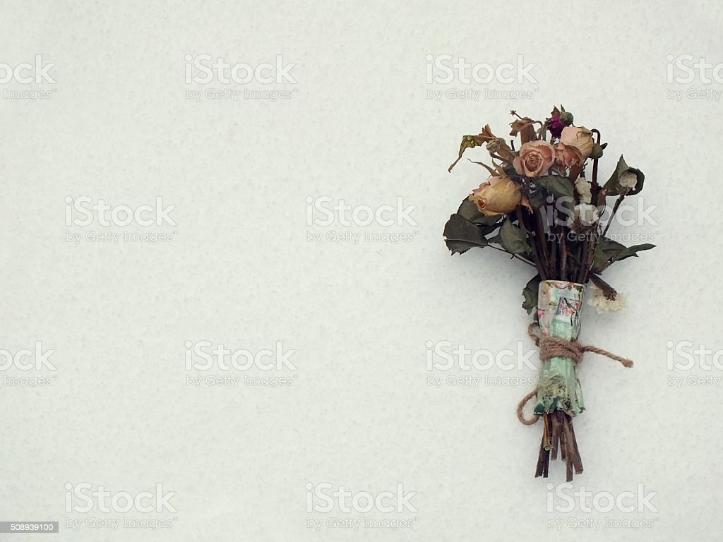 Dried bouquet on white background stock photo