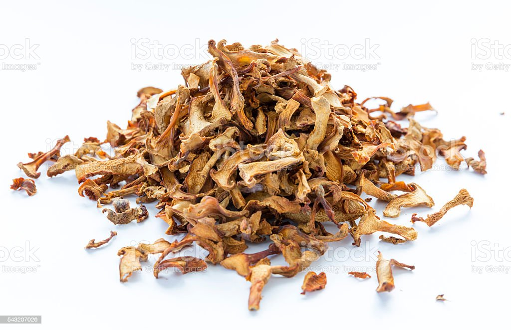 Dried chanterelle mushrooms stock photo