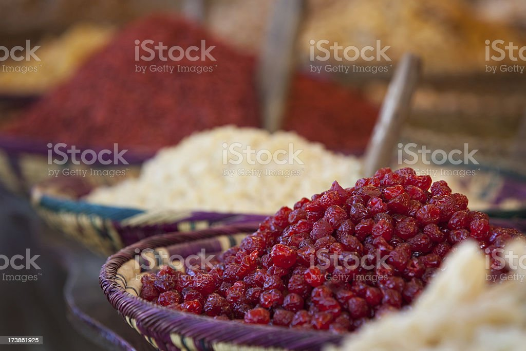 Dried cherries at an outdoor market royalty-free stock photo