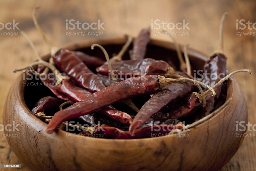 Dried Chillies In a Wooden Bowl stock photo