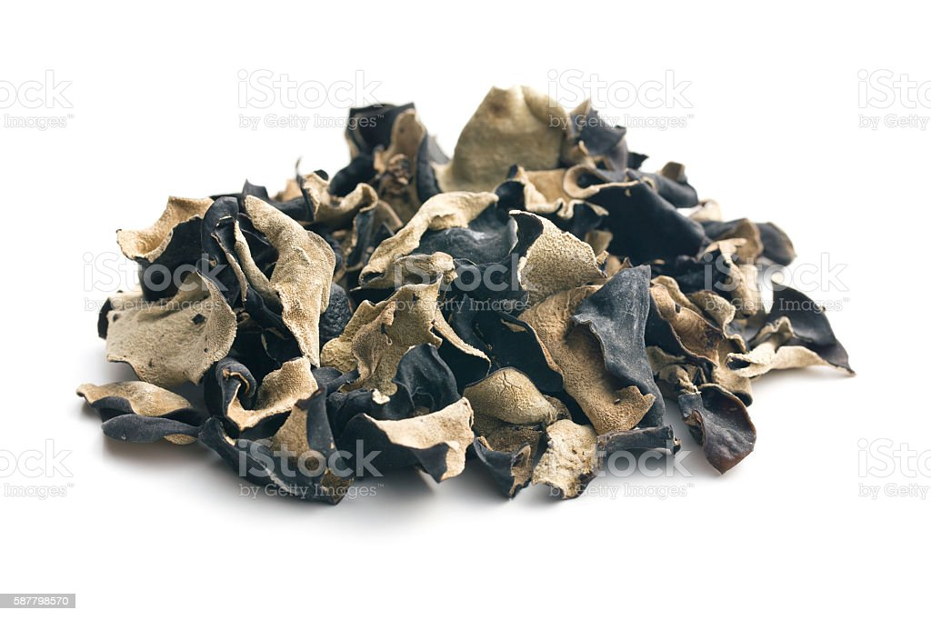 Dried chinese black fungus. Jelly ear stock photo