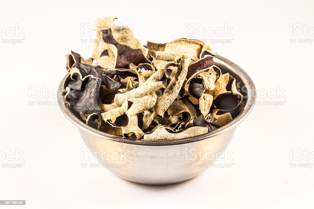 Dried Chinese Black Mushrooms, Auricularia polytricha, also call stock photo