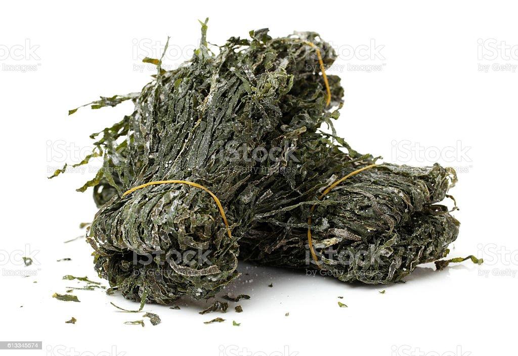 dried, chopped, green seaweed stock photo