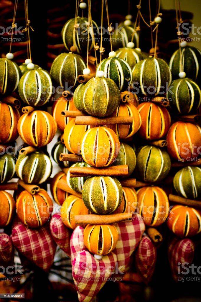 Dried citrus Christmas decorations stock photo