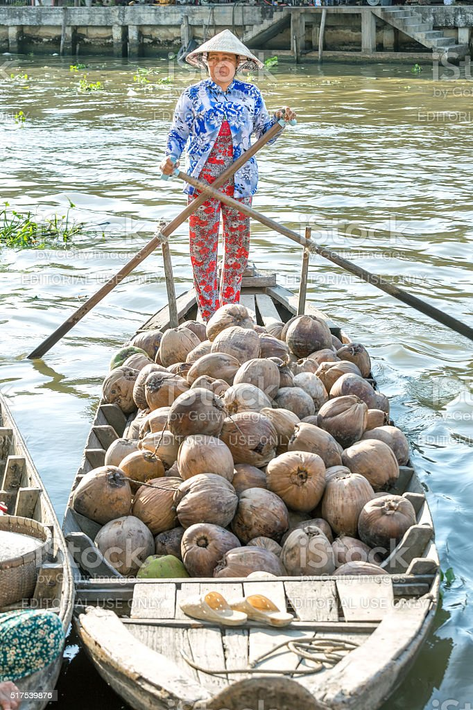 Dried coconut boat dock on the river stock photo
