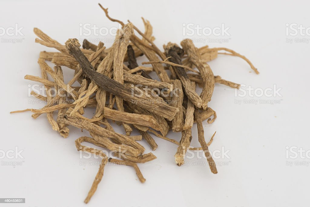 Dried codonopsis root chinese herbal medicine stock photo