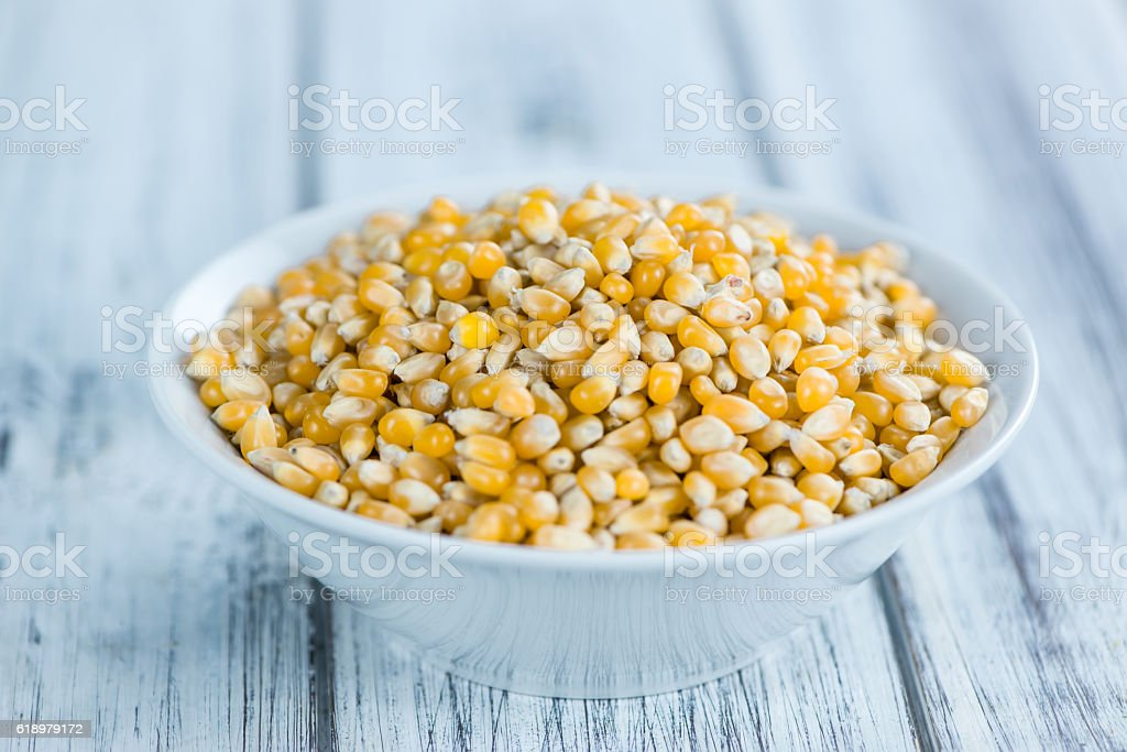 Dried Corn on a wooden table stock photo