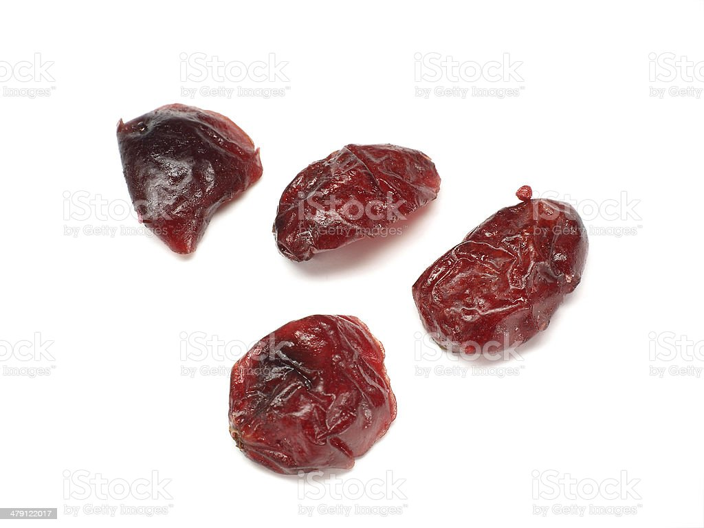 dried cranberries isolated on white stock photo