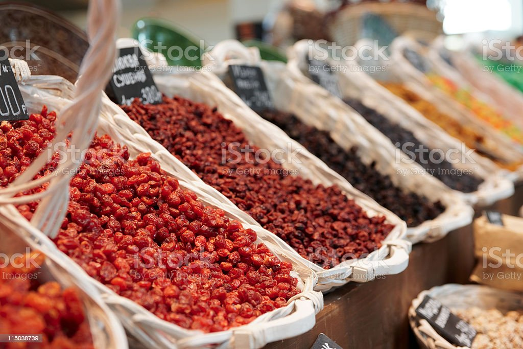 Dried cranberry and another dry berries royalty-free stock photo